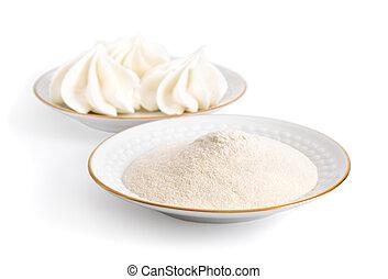 Agar-agar powder on a white plate