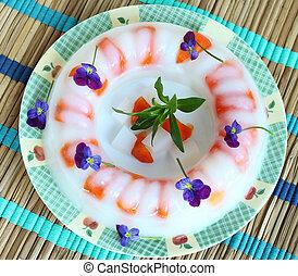 Agar Jelly Cake - Agar-Agar jelly cake with fruit persimmon