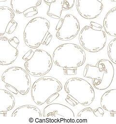 agaricus, desenho, seamless, textura, seu