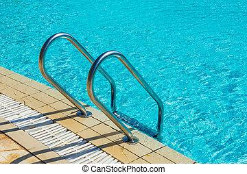agarramento, barras, escada, piscina, natação