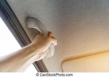 agarramento, cabos, carro, e, mão