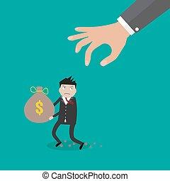agarrar, dinheiro, saco mão