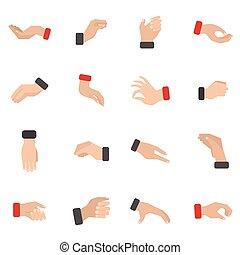 agarrar, mão, ícones, jogo
