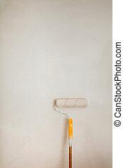 agarre, contra, wall., cepillo, naranja, rodillo