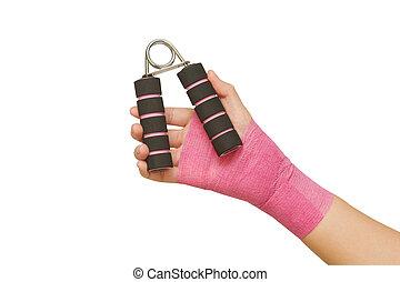 agarre, paciente, mano, rehabilitación, 's, ejercicio