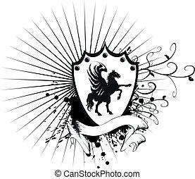 agasalho, cavalo, heraldic, 7, braços