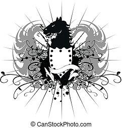 agasalho, cavalo, heraldic, 8, braços