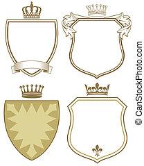 agasalho, coroa, escudo, braços