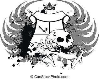 agasalho, heraldic, braços, skull10