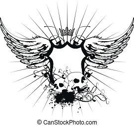 agasalho, heraldic, braços, skull6