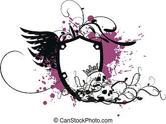 agasalho, heraldic, braços, skull8