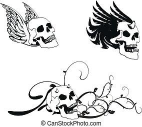 agasalho, heraldic, skull3, braços