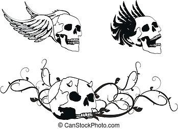 agasalho, heraldic, skull4, braços