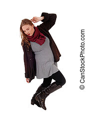 agasalho, mulher, inverno, dançar., encantador
