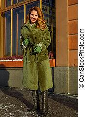 agasalho, mulher, modelo moda, inverno