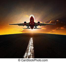 agasint, passagier, aus, sonne, startbahn, himmelsgewölbe, flughafen, eben, steigend, nehmen, schöne