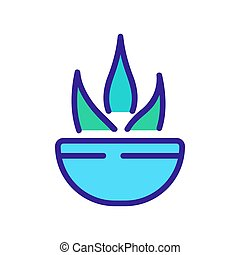 agave in bowl icon vector outline illustration - agave in ...