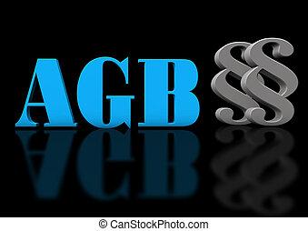 AGB Paragraf - AGB mit Paragrafen auf einem schwarzem...