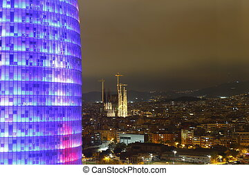 Agbar Tower and Sagrada Familia Cathedral, Barcelona, Spain