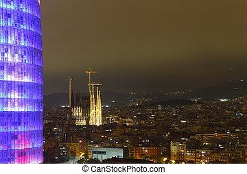 Agbar Tower and Sagrada Familia Cathedral, Barcelona, Spain