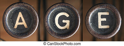 A word consists of buttons from an old vintage typewriter.