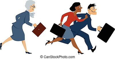 Senior business woman trying to keep up with younger colleagues, running, vector illustration, EPS 8