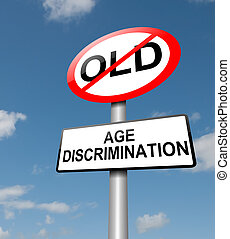 Illustration depicting a road traffic sign with an age discrimination concept. Blue sky background.