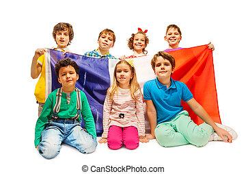 age-diverse, bandeira, crianças, grupo, francês
