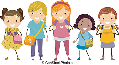 Age Diversity Girls - Illustration Featuring a Group of...
