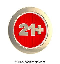 Age limit (21 ) round symbol isolated