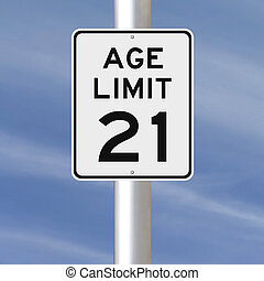 Age Limit at 21 - A modified speed limit sign indicating an...