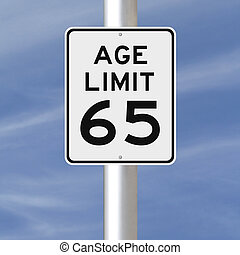 Age Limit at 65 - A modified speed limit sign indicating an...
