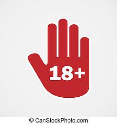 Age limit. Hand icon