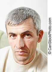 age moyen, homme, portrait