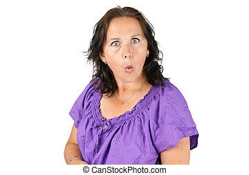 age moyen, visage femme, rigolote