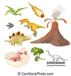 Age of dinosaurs banner with prehistoric predators t-rex, ...