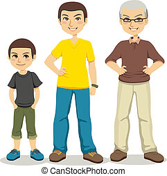 Age of Men - Illustration of three ages of men from child to...