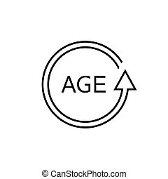 Age Vector Line Icon isolated on white