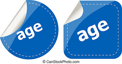 age word on stickers button set, label