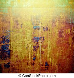Aged background or texture. Vintage graphic composition with grunge style elements and different color patterns: yellow (beige); brown; green; blue; red (orange); purple (violet)
