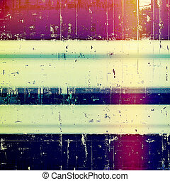 Aged background or texture. Vintage graphic composition with grunge style elements and different color patterns: blue; red (orange); purple (violet); yellow (beige); cyan; pink