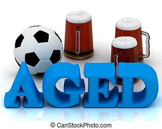 AGED blue bright word, football, 3 cup beer