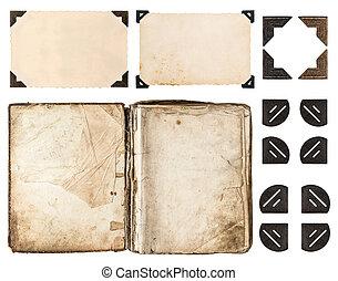 aged book, photo album, vintage paper card, photo corner