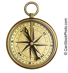 aged brass antique nautical pocket compass isolated on white...