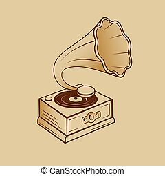 Gramophone - Aged Brass Gramophone Isolated on the Cartoon ...