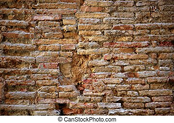 aged bricks brown background wall