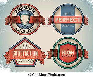 Aged colorful vintage labels - Set of weathered vintage...