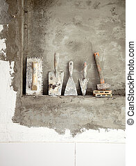 aged construction cement mortar used tools