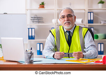 Aged construction engineer working in the office
