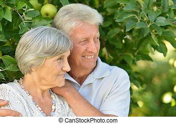 Aged couple is having fun